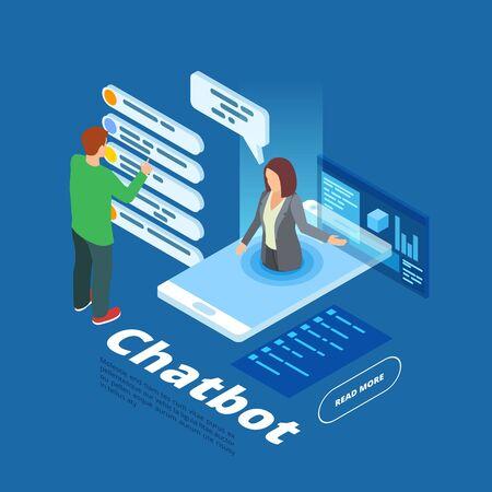 Chatbot vector illustration. Isometric online assistant concept. Isometric bot online, mobile chatbot support chatting Ilustração