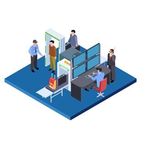 Comprobación de equipaje y personas, ilustración vectorial isométrica del servicio de seguridad. Cheque aduanero, escáner de pasajeros y equipaje turístico