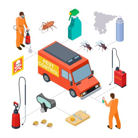 Pest control infographic. Isometric disinfection service. Vector 3D poison, insects, disinfectors. Illustration pest protection, service control parasitic