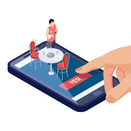 Online table in restaurant or cafe reservation with mobile app isometric concept. Cafe reservation table, app isometric restaurant illustration