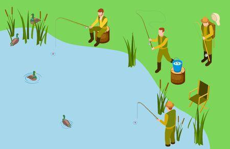 Fishermen on the lake. Vector isometric fishing concept. Male hobby, outdoor recreation. Illustration fishing in lake, fisherman wait