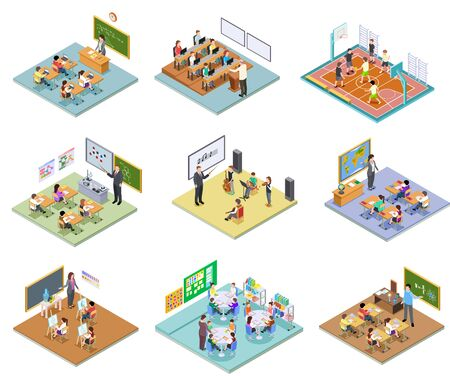 School rooms isometric. Library dining room lecture classroom gym sports hall toilet college university interior furniture 3d vector. Illustration education school room isometric, university interior Иллюстрация