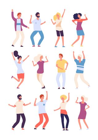 Cartoon dancing people. Happy persons dance, adults woman and man dancers. Party crowd fun isolated vector characters. Illustration happy dance, dancer person cheerful