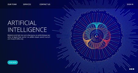 Artificial Intelligence landing page. Vector AI concept web banner template. Illustration ai intelligence web banner, artificial human brain