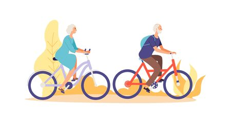 Autumn bike ride concept. Flat elderly characters riding bicycles vector illustration. Old people woman and man cyclist active Иллюстрация