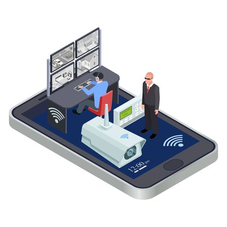 WiFi connect mobile security system isometric vector concept. Security cctv network wireless use smartphone and electronic system illustration