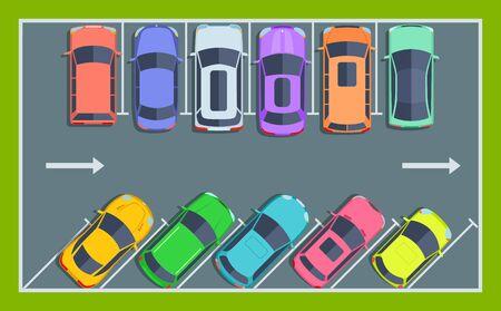 Vista superior del aparcamiento. Espacios de estacionamiento público de la ciudad para automóviles, concepto de vector de zona de automóviles estacionados. Aparcamiento de automóviles, ilustración de la zona de parl público de la ciudad