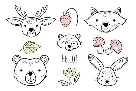 Doodle animals head. Nursery scandinavian style vector design elements. Animal baby doodle character, wildlife childish deer, fox and rabbit illustration Ilustração