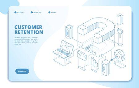 Customer retention landing page. Client loyalty and branding marketing, customers relationship. Magnetic business vector 3d concept. Service customer retention, reputation optimization illustration Vektoros illusztráció