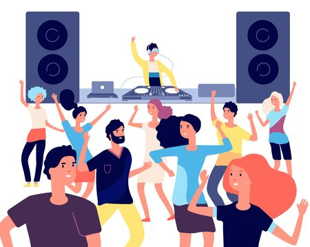 People on dance floor. Dancing people, young dancers enjoying in disco club party with dj. Nightlife entertainment vector flat concept. Dj music, club dance, party nightclub, nightlife illustration
