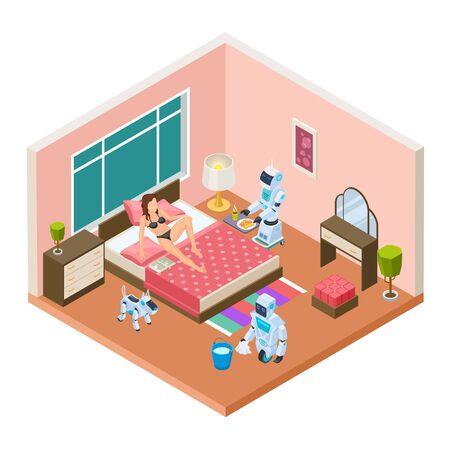 Isometric household robots. Vector robots, modern technologies for homework. Woman relaxing, androids are cleaned and cooked. Illustration robot intelligence, household equipment, help robot machine Stock Illustratie