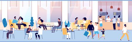 People in restaurant. Guys eating at dinner table in cafe. Teenagers snacking meal in food court, cafeteria interior vector concept. Illustration restaurant dinner, cafe with people have lunch