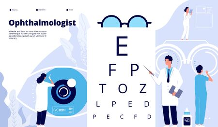 Landung in der Augenheilkunde. Augenarzt überprüft das Sehvermögen des Patienten. Augen testen neue Technologie. Augenpflege ophthalmologisches Vektorkonzept. Illustrationsseh- und Optometrie-Testuntersuchung Vektorgrafik