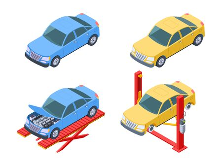 Car repair isometric. Vehicle service, changing wheels vector illustration. Auto repair, garage machine diagnostic and fix