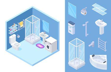 Bathroom isometric. Vector shower, toilet, bath furniture, mirror, glass shelves. Illustration shower and furniture for interior bathroom