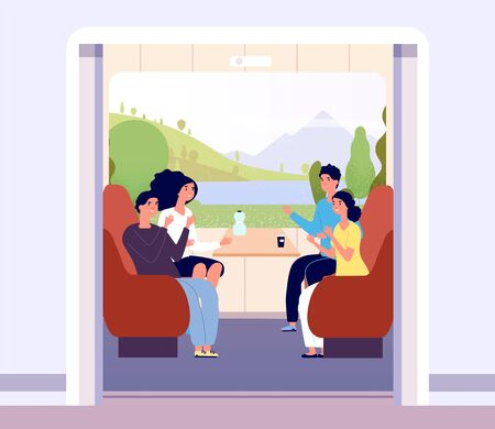 People in train. Men and women travelling by train. Summer landscape in coach window. Railway journey vector flat concept. Illustration transport and travel train, people sitting in wagon