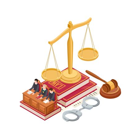 Isometric law and justice vector concept. 3D scale of justice, mallet, law book and judge isolated on white background. Justice and law, courtroom isometric, judge and court illustration Standard-Bild - 129278656