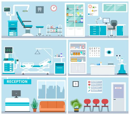 Hospital interior. Empty clinical office indoor. Doctor waiting examination room, surgery. Medical hospitalization vector flat concept. Illustration interior hospital and clinic empty Illustration