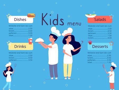 Kids menu. Children in chef hat cooking food in kitchen. Restaurant brochure cover cartoon vector design template. Child menu, childish chef cooking in restaurant illustration
