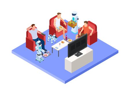 Robotic service staff. Vector people and androids. Isometric servant robots and men resting. Artificial humanoid worker, robotic help people illustration Banque d'images - 129643654