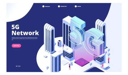 5g network concept. City with 5G wireless Internet landing page. Illustration fifth generation web connect signal Vectores