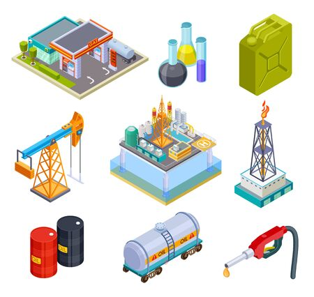 Oil gas industry isometric. Fuel storage oil products gasoline can production pipeline canister tank ship truck tanker 3d vector icons. Illustration of production oil and gas, industry petroleum