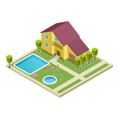 Emplacement vectoriel isométrique de l'hôtel de pays familial. Illustration famille reste près de la piscine 3d Vecteurs