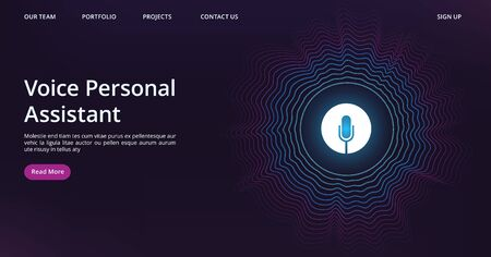 Voice assistant landing. Web page template with vector sound wave and microphone. Illustration voice assistant technology, microphone personal help Banque d'images - 129643663