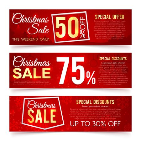 Christmas sales vector banners. Winter and new year holiday discount and offer advertising banner with snowflakes, gift certificates. Illustration christmas sale and discount, offer special to holiday