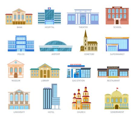 Government flat houses. Bank hospital school university airport police library church. Municipal city buildings exterior vector icons. Museum and library, gas station and restaurant illustration