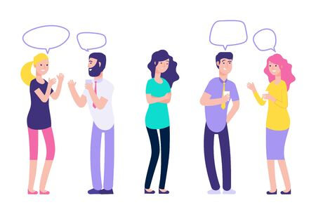 Ignoring in a team. Chatting couples disregard sad woman vector illustration. People man and woman together speak and no see person Stok Fotoğraf - 129671379