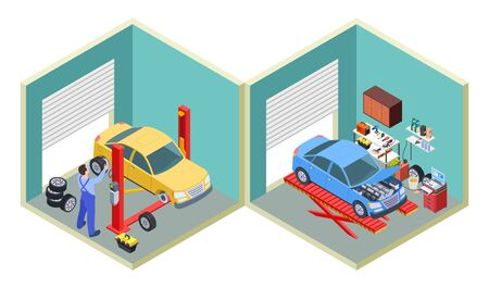 Car service isometric. People repair cars with auto industrial equipment. Technicians replace vehicle wheels illustration. Service garage, workshop diagnostic car