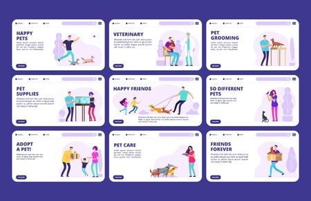 People with pets landing pages template. Vector characters people, dogs, cats, birds. Website veterinary and grooming pets illustration