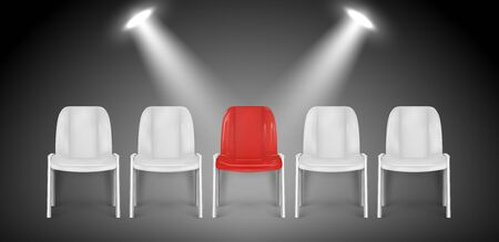 Vacant chairs. Hiring vector concept. Job recruiting. Job chair empty, vacant place vacancy illustration. Vacant job, vacancy chair, career opportunity