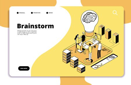 Brainstorm landing page. Business people launching new project and brainstorming. Innovation teamwork creative vector concept. Business people, brainstorming team illustration