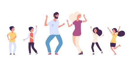 Flat dancing people. Happy kids and adults dancers vector characters. Male and female dance battle concept. Illustration dancer man and woman, dancing children