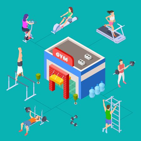 Isometric sport club concept. Vector gym building and fitness equipment. Fitness people training. Illustration sport equipment for training and workout