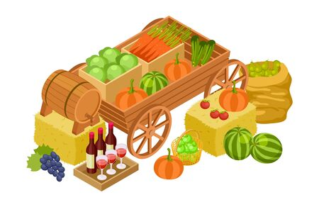 Harvest market concept. Isometric fresh farm products. Vector craft wine, organic vegetables, fruits. Illustration organic harvest, fresh product