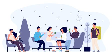 Hostel lounge concept. Happy young people flat characters, tourist. Lounge room vector illustration. Hospitality lounge area, zone lobby hostel