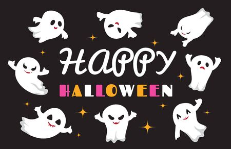 Cute ghosts. Flat ghost vector character. Happy Halloween background. Illustration halloween spooky ghost, holiday horror creature Иллюстрация
