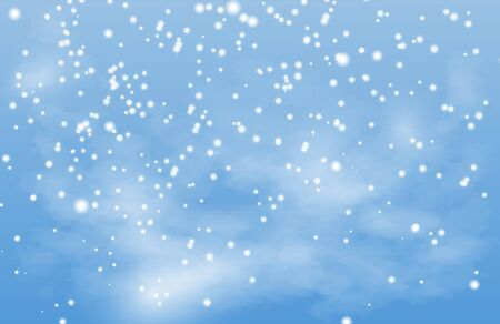 Christmas background. Winter snow landscape vector illustration. Falling snow, blue sky, fog. Snowflake xmas, snowfall sky, weather fog and snowy illustration