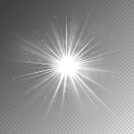 Light effect. Glow light star. Vector shining silver burst with sparkles isolated on transparent background. Illustration magic sparkle on transparent backdrop