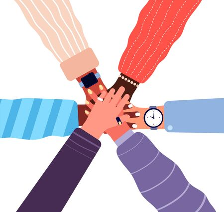 Hands putting together. People business cooperation, unity and teamwork. Stacked friend hands, partnership community vector concept. Illustration friendship strength, human hands together cooperation