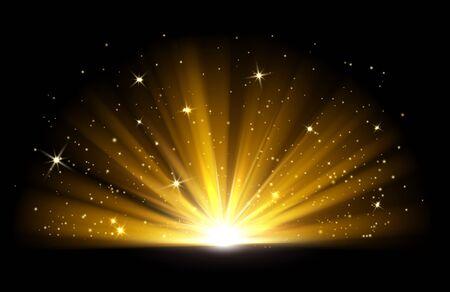 Efecto de luz. Vector brillante luz dorada brillante. Explosión de brillo dorado con ilustración de destellos aislado sobre fondo negro. Efecto de luz resplandor, brillo dorado brillante Ilustración de vector