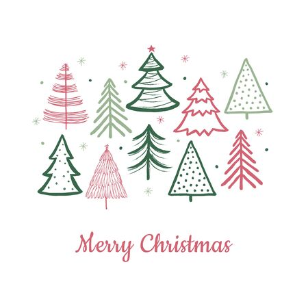 Doodle christmas tree card. Doodle fir-trees snow season concept. Vector winter holiday background. Illustration celebration christmas card drawing