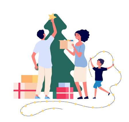 Family decorates christmas tree. Smiling mom, dad and kids celebrate christmas at home. Xmas and winter holiday vector flat concept. Decoration tree to christmas and celebration holiday illustration Archivio Fotografico - 129893455
