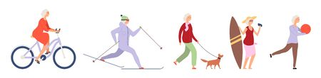 Elderly woman. Active flat happy elderly woman character. Vector female set. Illustration activity lifestyle, retirement life, relax pensioner, grandma healthy