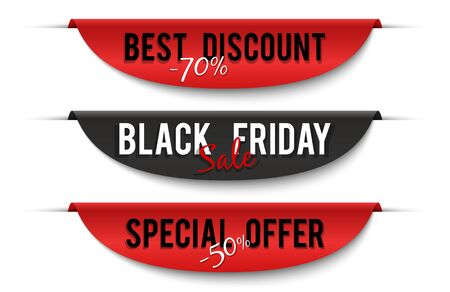 Black friday sale. Special price labels. Sale banners, discount vector badges isolated on white background. Discount badge black friday, shopping announce marketing illustration