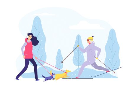 Winter walking. Women active winter time. Flat girl walks with dogs in forest vector illustration. Wintertimer outdoor cold, activity person ski Ilustração