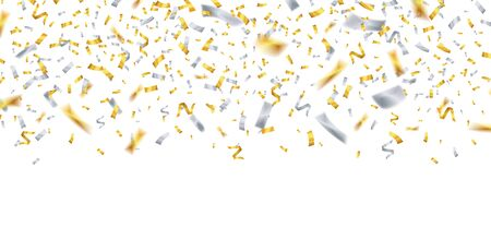 Falling confetti. Gold silver confetti. Celebrate birthday Christmas New Year flying ribbons. Party holiday decor isolated vector background. Illustration holiday surprise confetti and sparkle ribbon Illusztráció
